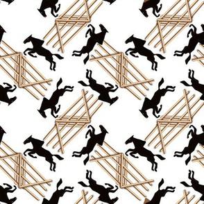 Black Jumping Horses on White
