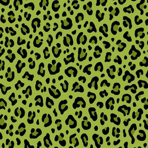 ★ PSYCHOBILLY LEOPARD – LEOPARD PRINT in LIME GREEN ★ Small Scale / Collection : Leopard spots – Punk Rock Animal Print