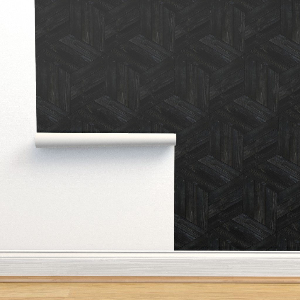 Isobar Durable Wallpaper featuring Weathered Parquet in Ebony by gigi&mae