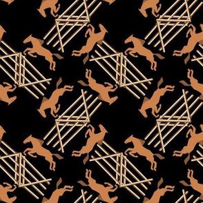 Chestnut Jumping Horses on Black