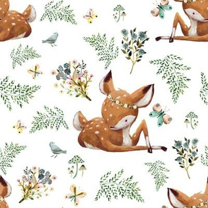 "8"" Boho Botanicals Deer Mix & Match 2 - White"