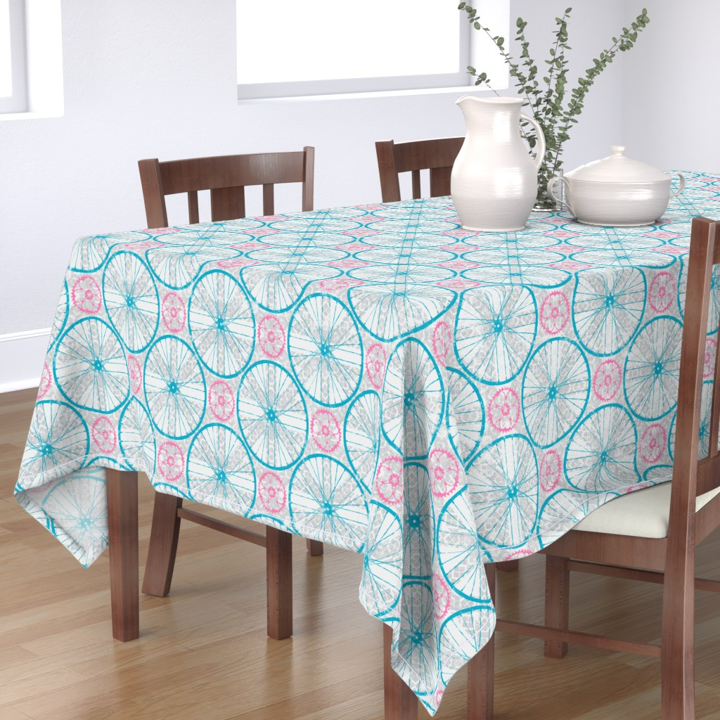 Bantam Rectangular Tablecloth featuring For the love of Cycling Grey Blue Pink by wickedrefined