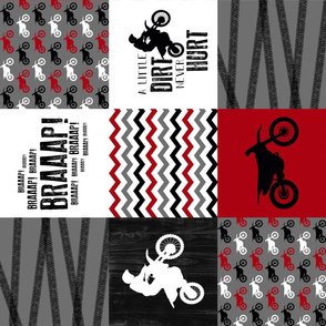 Motocross//A little dirt never hurt - Red - Wholecloth Cheater Quilt - Rotated