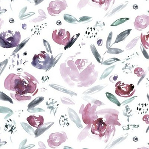 Sweet garden in saturated purple    watercolor floral pattern