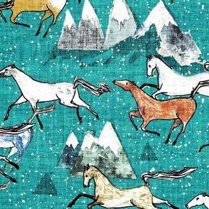 Wild Bush Horses (teal) MED