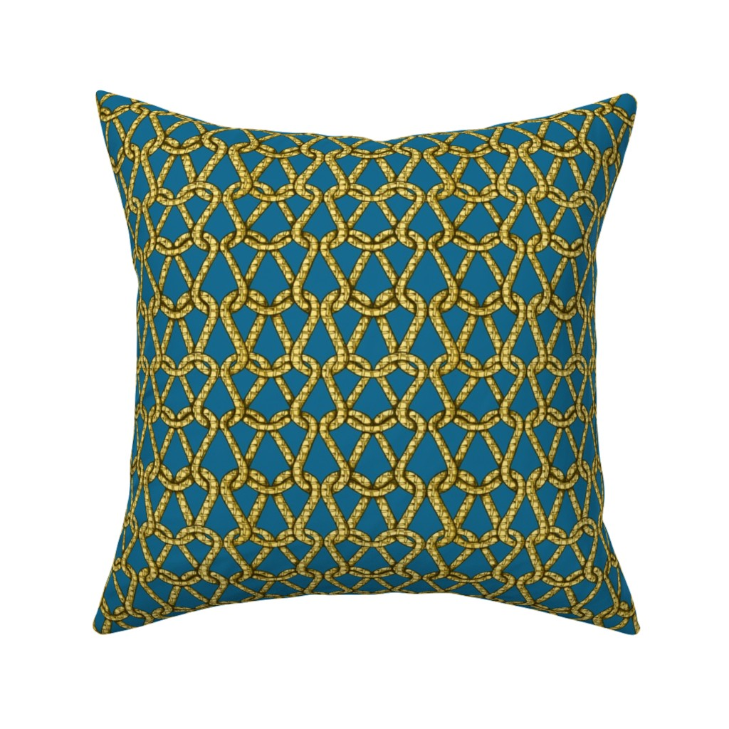Catalan Throw Pillow featuring endless knots (light blue yellow)25  by chicca_besso