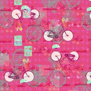 Dark Pink with Gray Bicycles