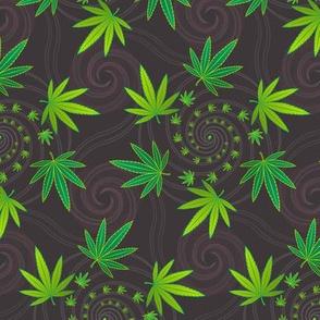 ★ SPIRALING WEED with SEED ★ Green & Dark Gray - Medium Scale/ Collection : Cannabis Factory 1 – Marijuana, Ganja, Pot, Hemp and other weeds prints