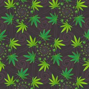★ SPIRALING WEED with SEED ★ Green & Dark Gray - Small Scale/ Collection : Cannabis Factory 1 – Marijuana, Ganja, Pot, Hemp and other weeds prints