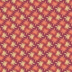 ★ CHECKERED WEED ★ Dark Red & Orange / Collection : Cannabis Factory 2 – Marijuana, Ganja, Pot, Hemp and other weeds prints