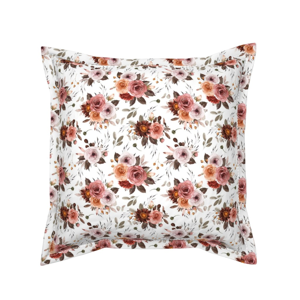 Serama Throw Pillow featuring Vintage Roses Edition 1 || Floral Burgundy Apricot Pink White by erin__kendal