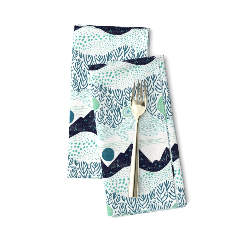 Amarela Dinner Napkins featuring The Gravel Path Less Traveled by scarlette_soleil