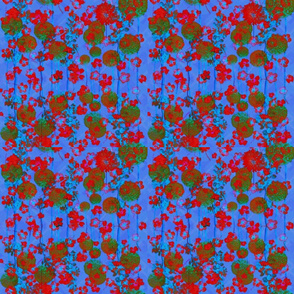 Bright Red and  Sky Blue Floral