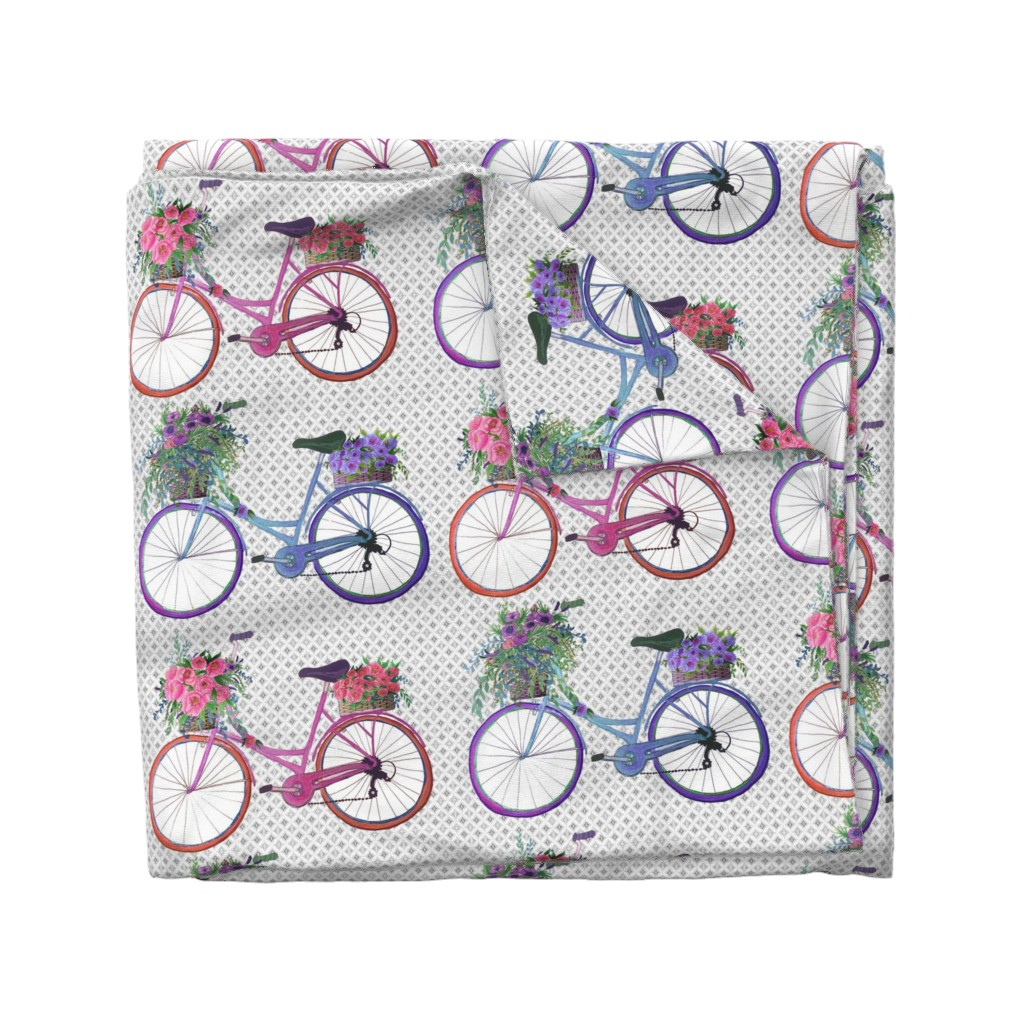 Wyandotte Duvet Cover featuring Vintage bike with flowers // Covent Garden Flower Market Vintage Bikes by magentarosedesigns