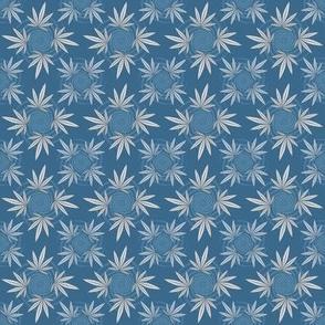 ★ CHECKERED WEED ★ Denim Blue / Collection : Cannabis Factory 2 – Marijuana, Ganja, Pot, Hemp and other weeds prints