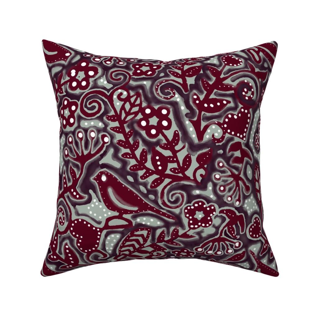 Catalan Throw Pillow featuring Limited Palette - Flowery bird by adrianne_vanalstine