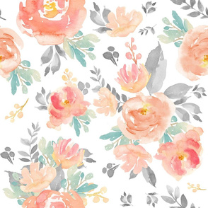 """21"""" Coral Grey and Mint Florals - White"""
