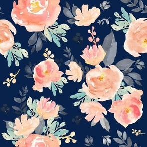 """8"""" Coral Grey and Mint Florals - Navy"""