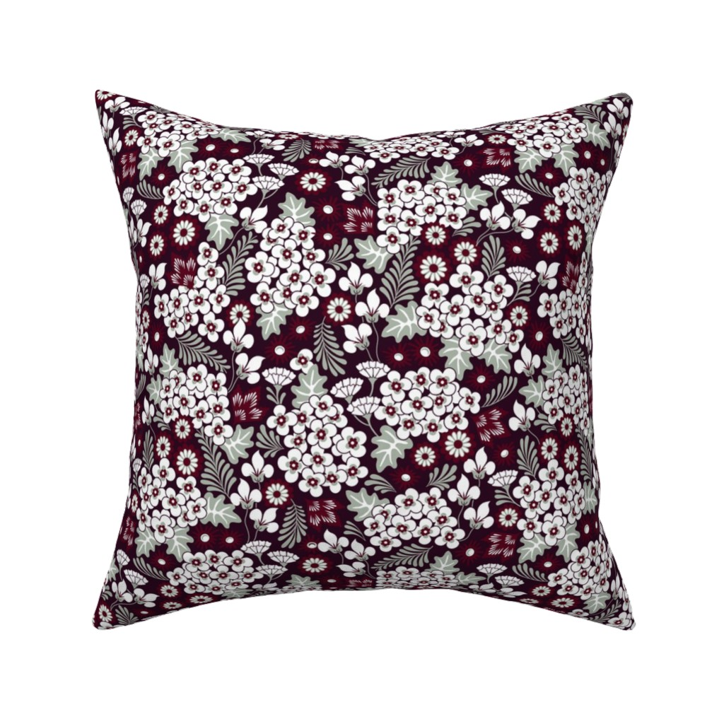 Catalan Throw Pillow featuring Winter Holiday Floral by dearchickie
