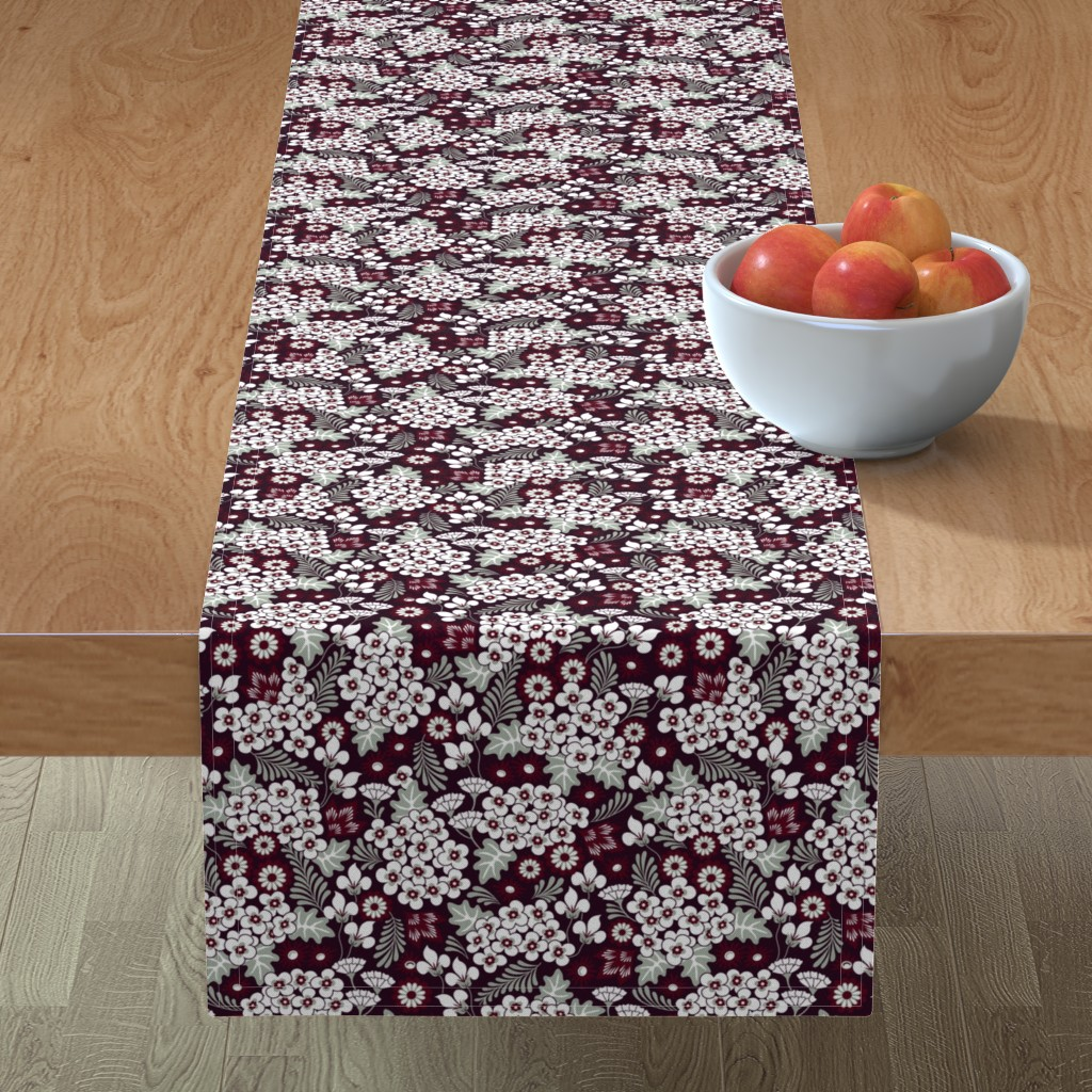Minorca Table Runner featuring Winter Holiday Floral by dearchickie