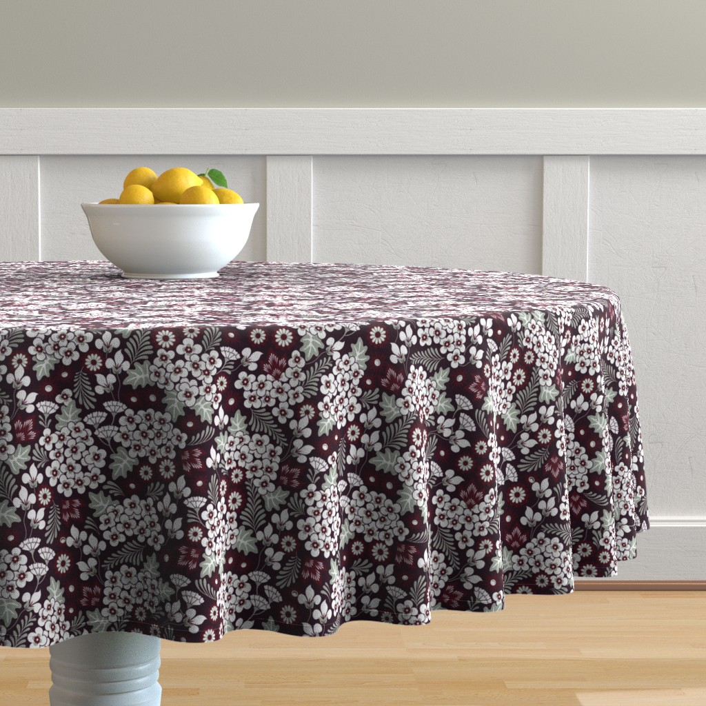 Malay Round Tablecloth featuring Winter Holiday Floral by dearchickie