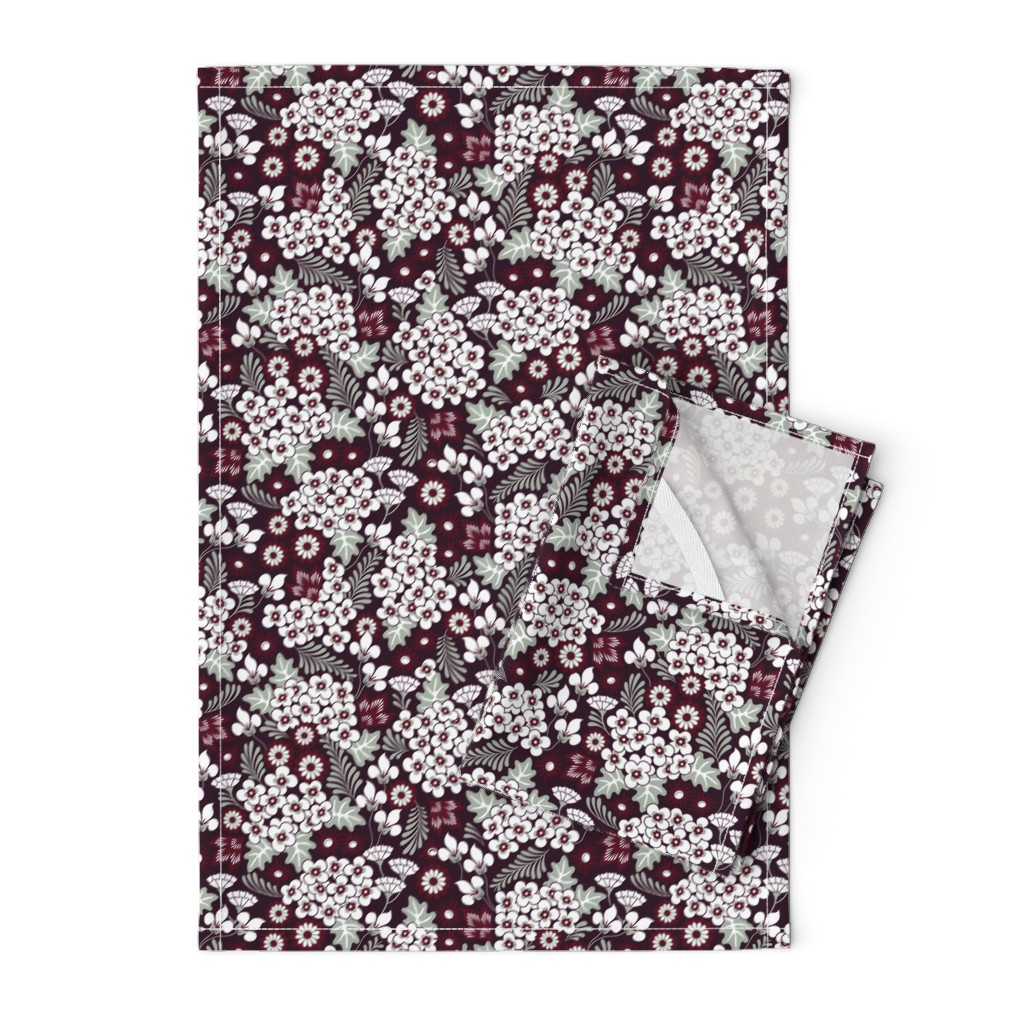 Orpington Tea Towels featuring Winter Holiday Floral by dearchickie