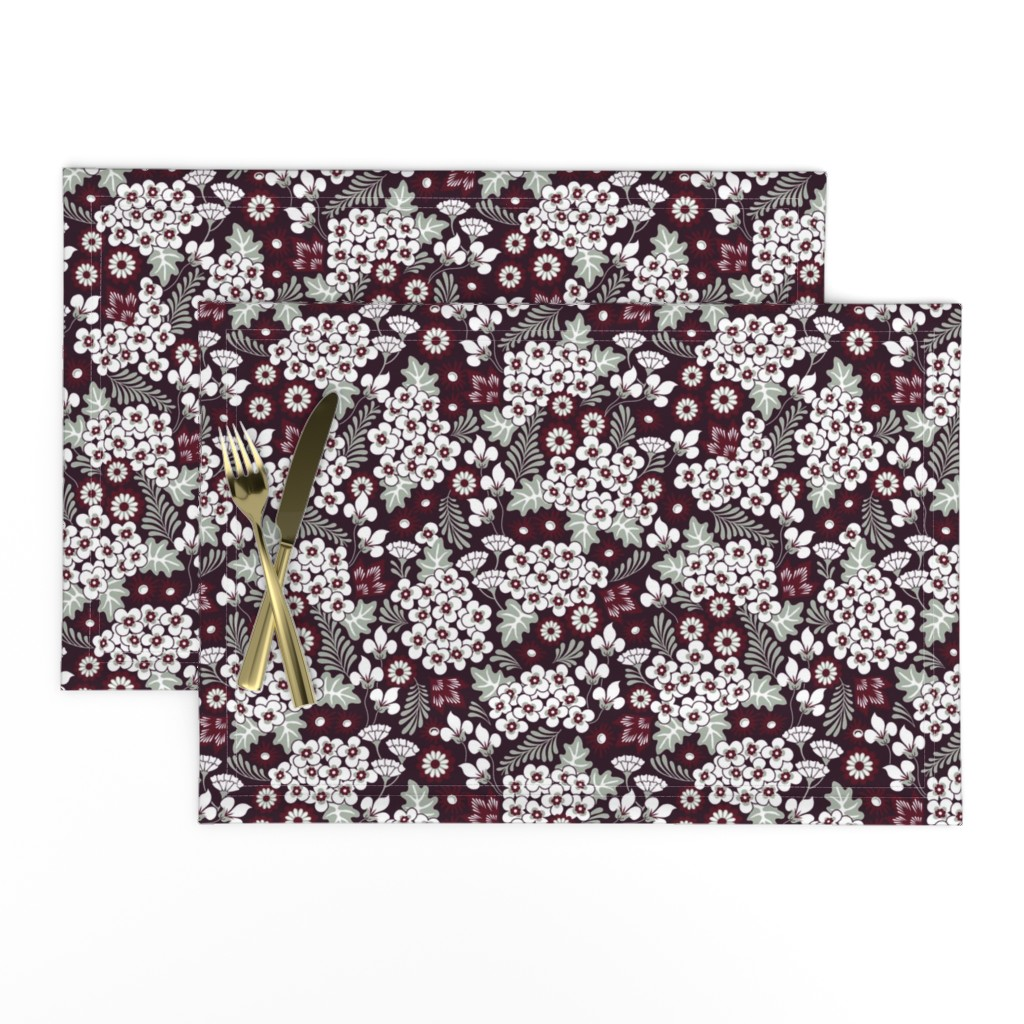 Lamona Cloth Placemats featuring Winter Holiday Floral by dearchickie