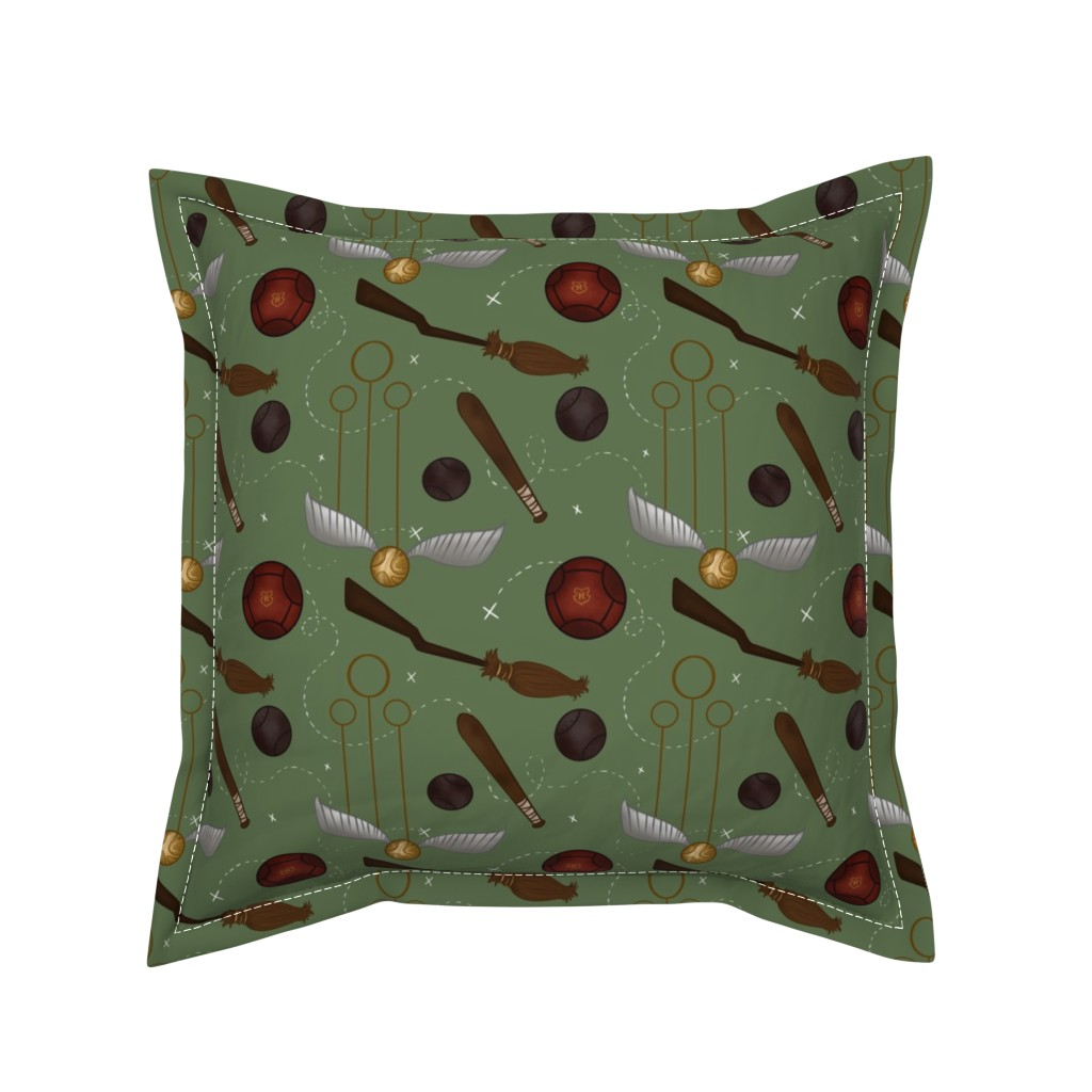 Serama Throw Pillow featuring Wizarding Sport by sparkymonster