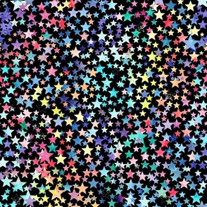 rainbow crowded stars - black