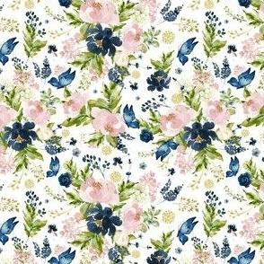 """4"""" Indigo & Pink Floral Bouquet - Full Florals - White"""