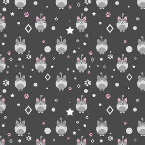 Kawaii Kitty In Dark Grey