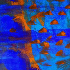 School of fish abstract blue orange