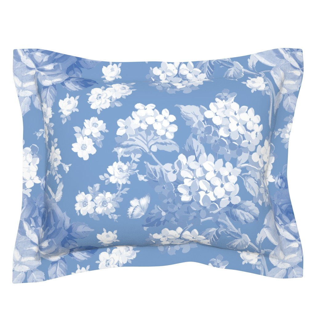 Sebright Pillow Sham featuring Lapis Garden by lilyoake