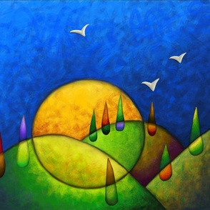 Large Abstract landscape Painting by Jezli Pacheco