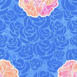 Blue Roses & Peonies