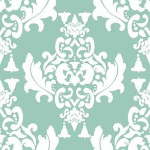 Damask-White on Spoonflower Green