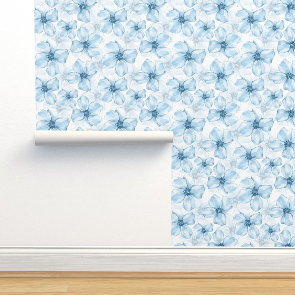 Isobar Durable Wallpaper featuring Romantic blue flowers by gribanessa