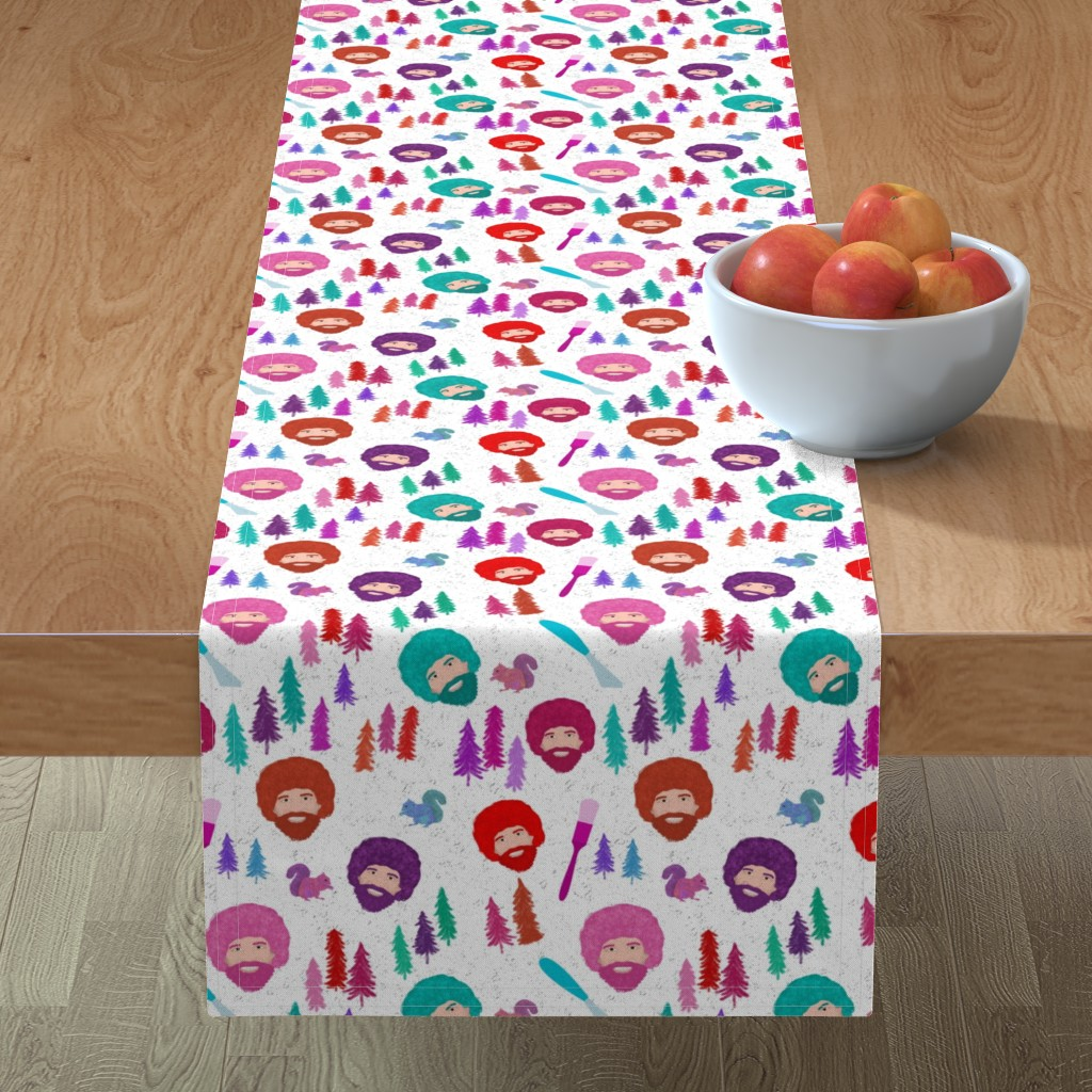 Minorca Table Runner featuring Happy Trees by inkysunshine