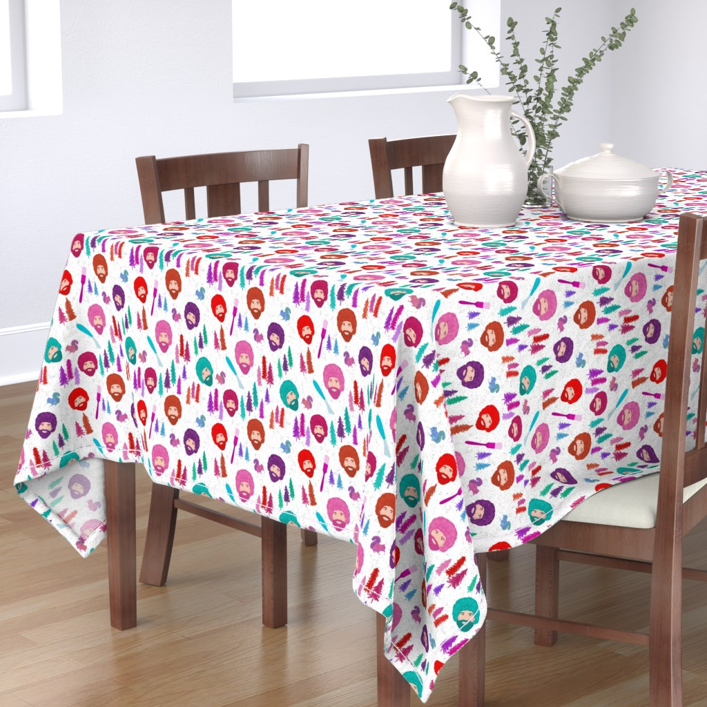 Bantam Rectangular Tablecloth featuring Happy Trees by inkysunshine
