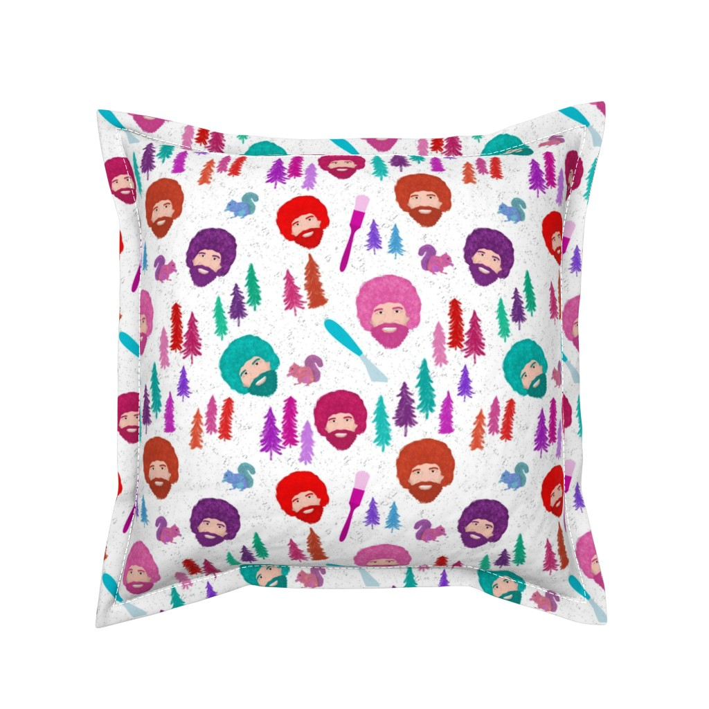 Serama Throw Pillow featuring Happy Trees by inkysunshine