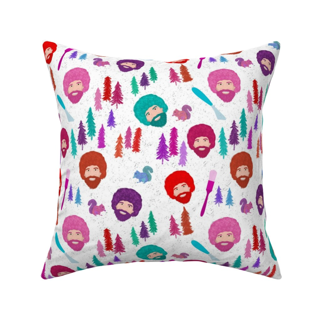 Catalan Throw Pillow featuring Happy Trees by inkysunshine