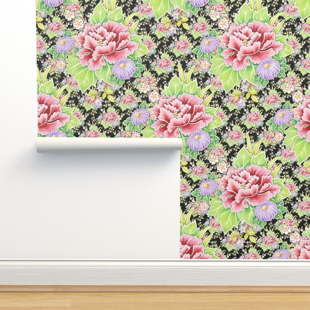 Isobar Durable Wallpaper featuring Kimono Bouquet Chintz on black by patriciasheadesigns