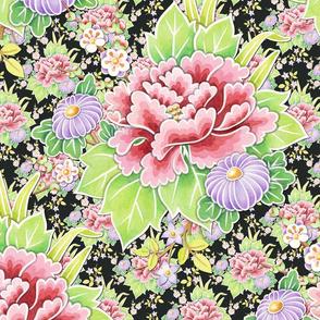 Kimono Bouquet Chintz on black