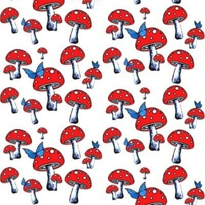 Red mushroom with Blue Butterflies