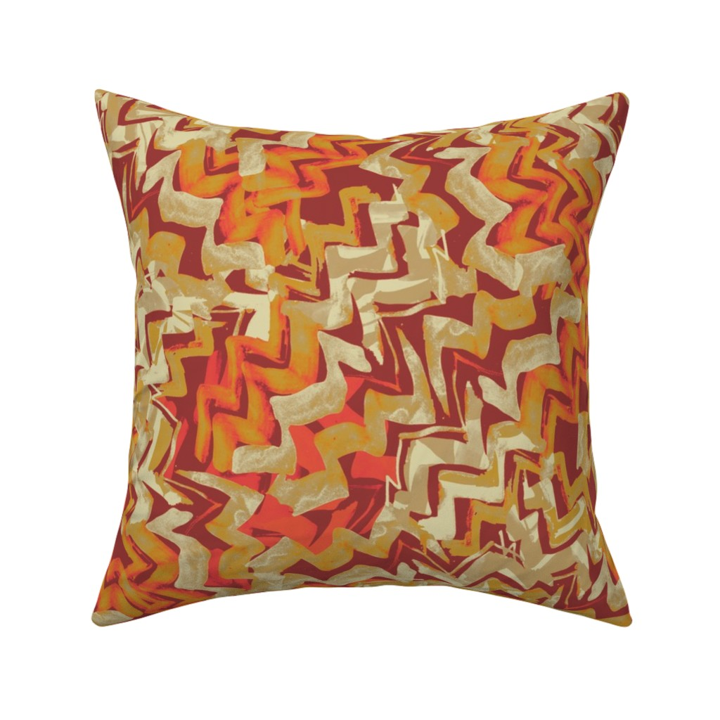 Catalan Throw Pillow featuring zag2-fiesta-coral by wren_leyland