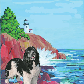 Newf With Lighthouse Curtain Panel Right Facing
