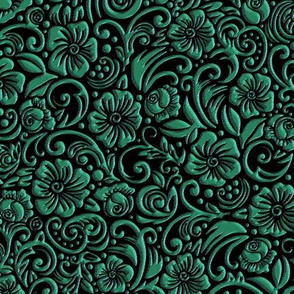 Textured Floral Green