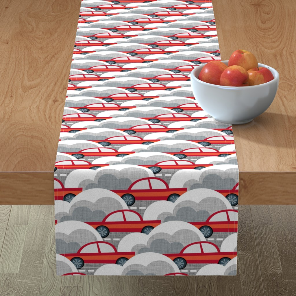 Minorca Table Runner featuring Papercut Cars by spellstone