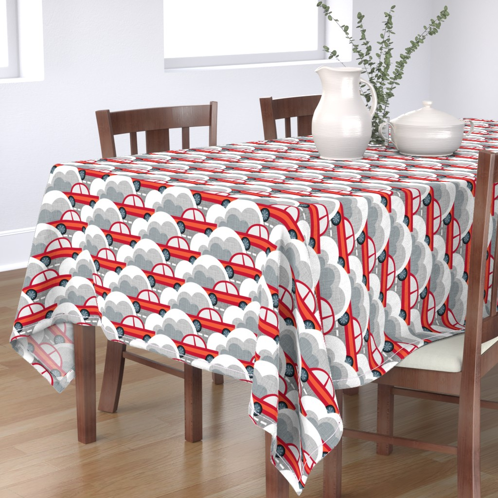 Bantam Rectangular Tablecloth featuring Papercut Cars by spellstone