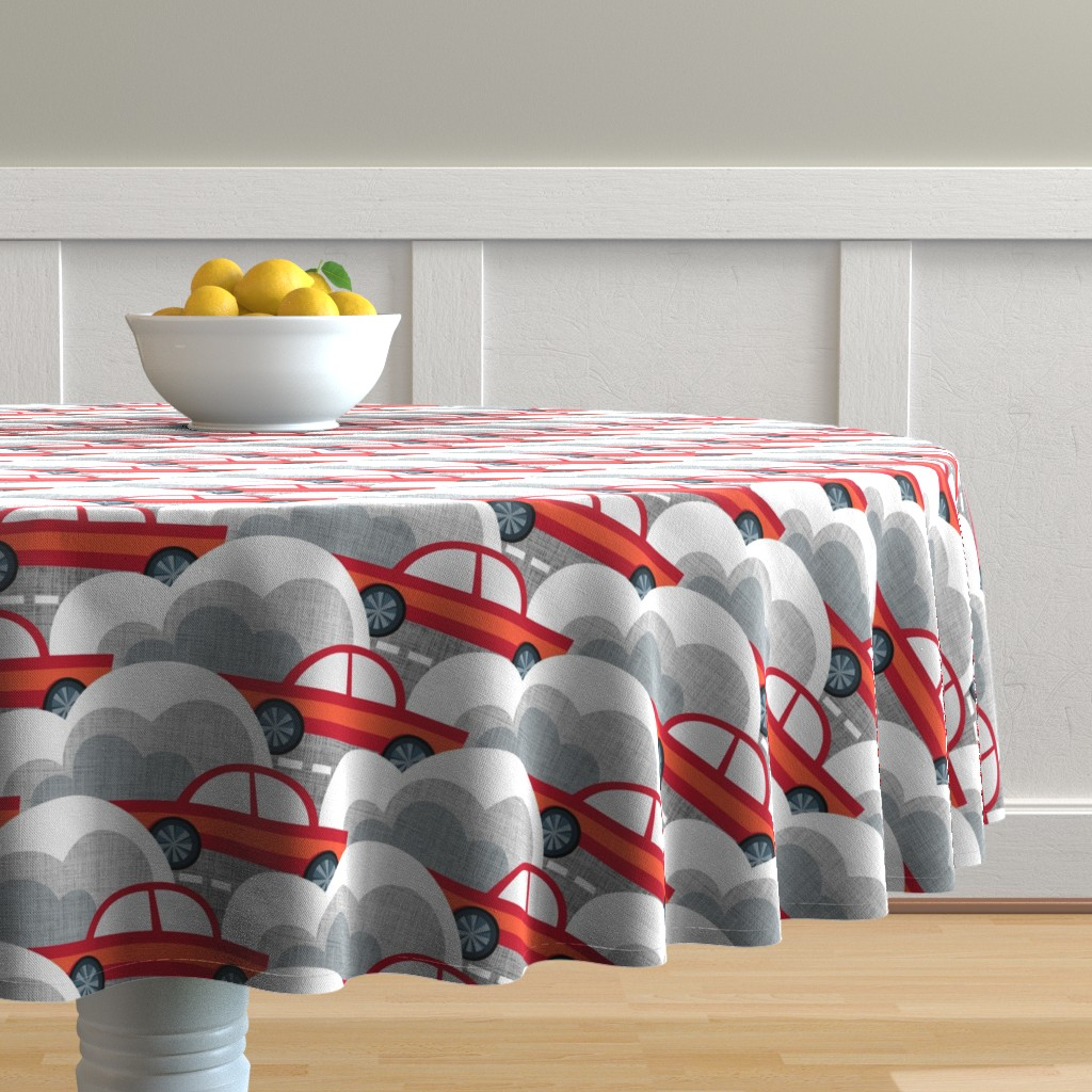 Malay Round Tablecloth featuring Papercut Cars by spellstone